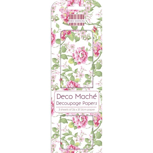 43817 First Edition Deco Mache Paper 26x37,5cm  3/Pkg Garden Bloom.