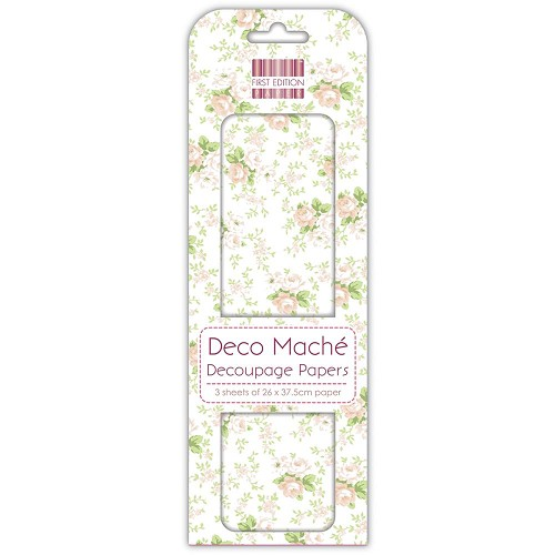 43818 First Edition Deco Mache Paper 26x37,5cm  3/Pkg Peach Roses.