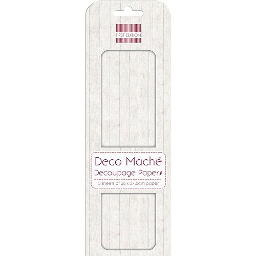 43820 First Edition Deco Mache Paper 26x37,5cm  3/Pkg White Wood.