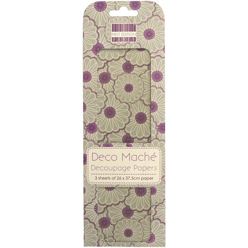 43821 First Edition Deco Mache Paper 26x37,5cm  3/Pkg Dreamcatcher, Full Bloom.