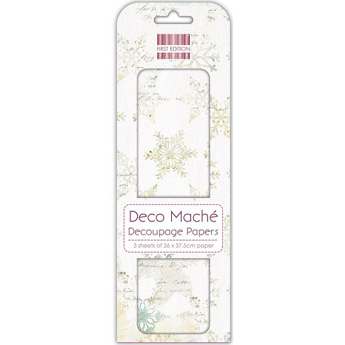 43824 First Edition Deco Mache Paper 26x37,5cm  3/Pkg Distressed Snowflakes.