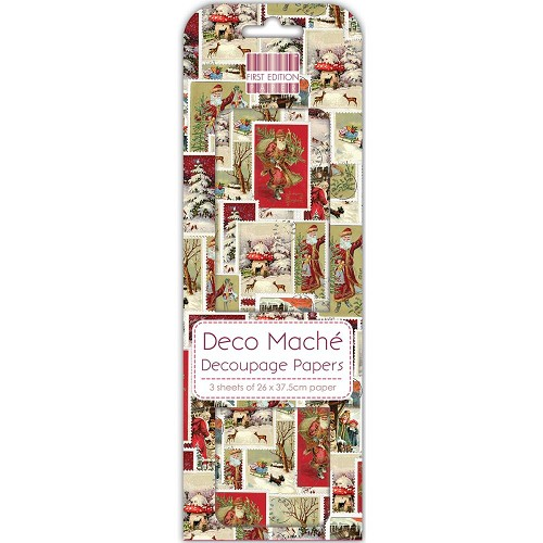43825 First Edition Deco Mache Paper 26x37,5cm  3/Pkg Christmas Stamps.
