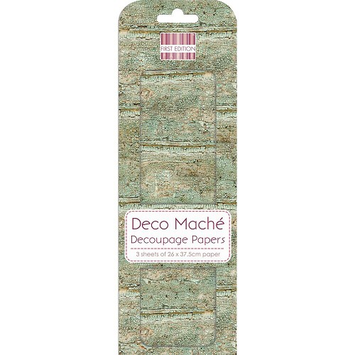 43826 First Edition Deco Mache Paper 26x37,5cm  3/Pkg Weathered Wood.