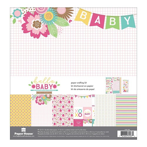 "43934 Paper House Paper Crafting Kit 12""X12"" Hello Baby Girl (KTSP-1052)."