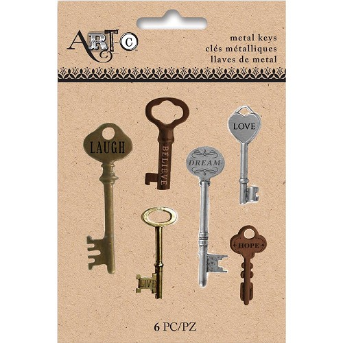 44022 Art-C Metal Antique Keys 6/Pkg Assorted Finishes.