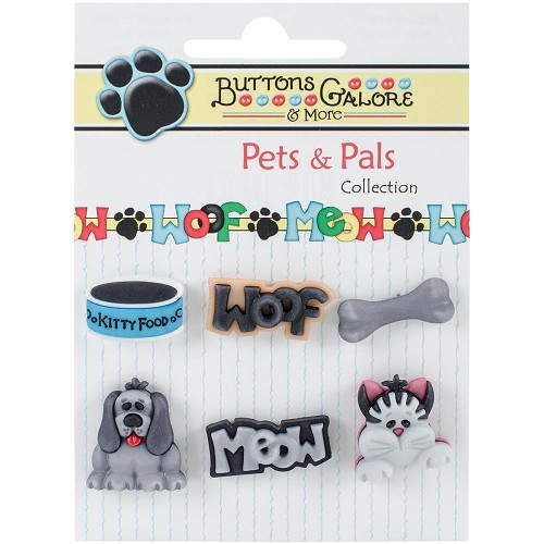 44202 Buttons Galore Pets & Pals 6/Pkg Our Pets.