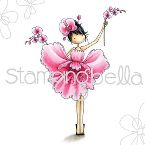 44259 Stamping Bella Tiny Townie Cling Stamp Garden Girl Orchid.
