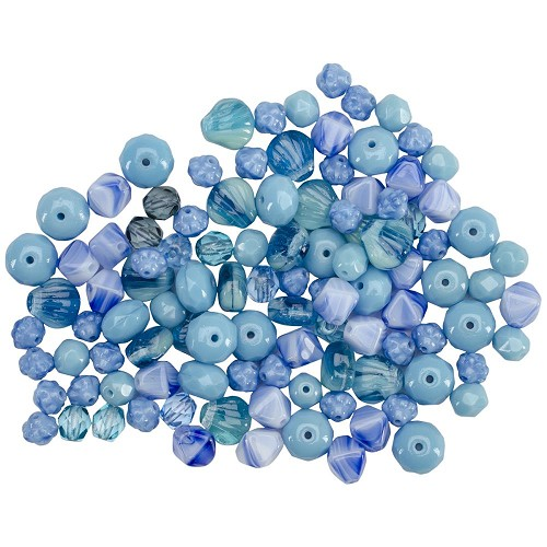 64268 Square Tube Glass Beads 2oz Pressed Glass Ocean Mix.
