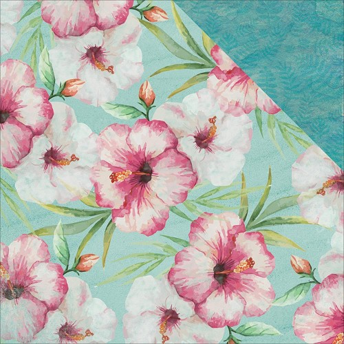 44290 Kaisercraft Island Escape Double-Sided Paper 30,5x30,5 cm Pink Hibiscus.