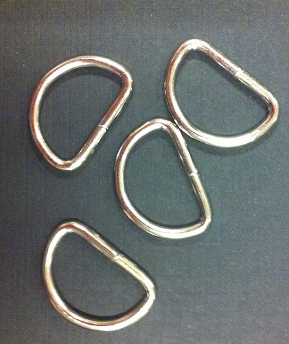 44337 Metalen D Ring 4 Stuks Silver 15x24mm.