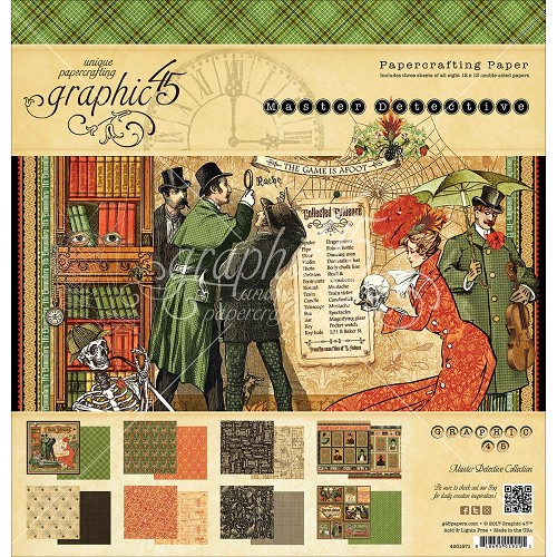 "44421 Graphic 45 Double-Sided Paper Pad 12""X12"" 24/Pkg Master Detective, 12 Designs/2 Each."
