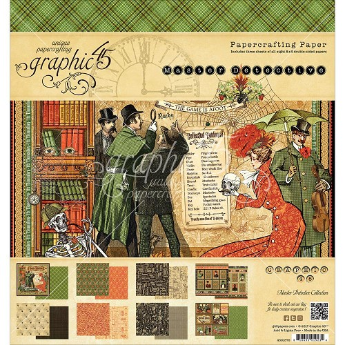 "44422 Graphic 45 Double-Sided Paper Pad 8""X8"" 24/Pkg Master Detective, 12 Designs/2 Each."