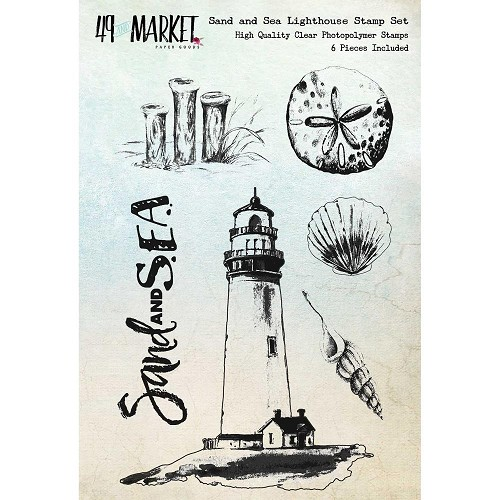 44461 49 & Market Clear Stamps Sand & Sea Lighthouse 10,5x14,5 cm.