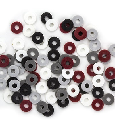 44566 Katsuki Mix Mix, Black/Grey/Red 100pcs / 6mm (12428-2808).