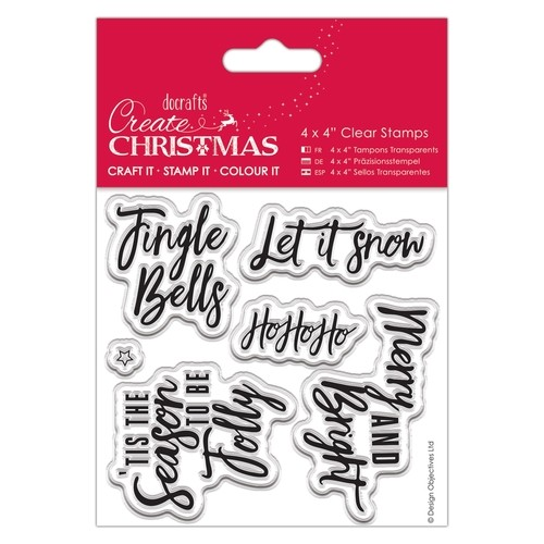 "44746 Docrafts 4 x 4"" Clear Stamps - Contemporary Sentiments."