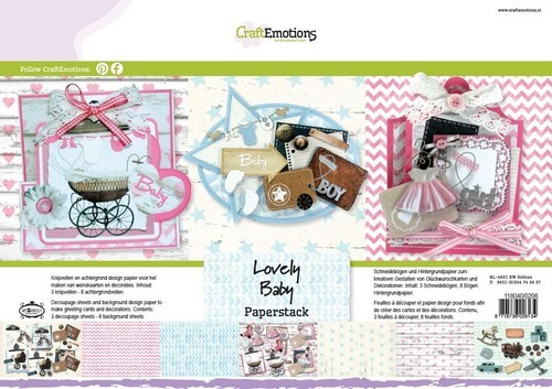 44841 CraftEmotions Paper stack Lovely Baby 11 vel A4.