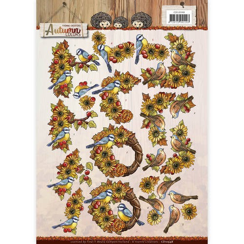 44887 (009) 3D Knipvel - Yvonne Creations - Autumn Colors - Autumn Birds (CD10948).