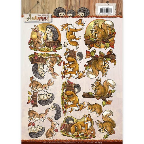 44888 (298) 3D Knipvel - Yvonne Creations - Autumn Colors - Autumn Animals (CD10947).