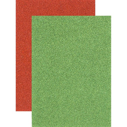 44917 Idea-Ology Adhesive Deco Sheets 8/Pkg Holiday Glitter, (4) Red & (4) Green (TH93342).