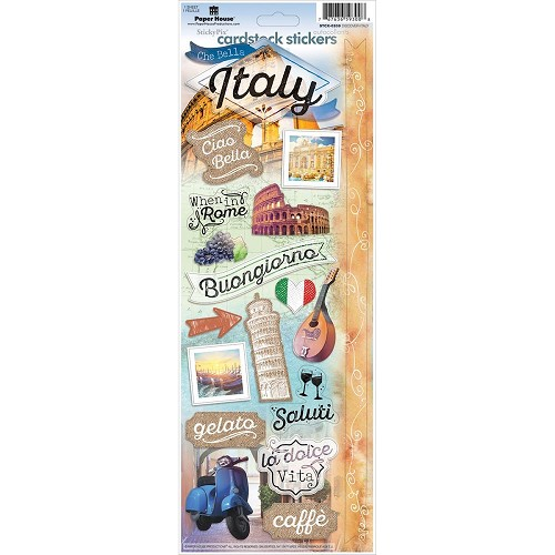 "44921 Paper House Cardstock Stickers 4.625""X13"" Discover Italy."