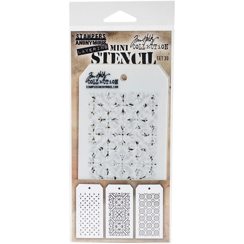45147 Tim Holtz Mini Layered Stencil Set 3/Pkg Set #30 (THMST030).