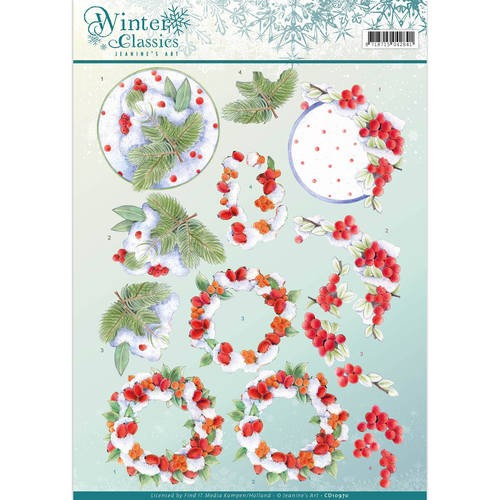45347 3D Knipvel - Jeanine`s Art - Winter Classics- Winterberries (CD10970).
