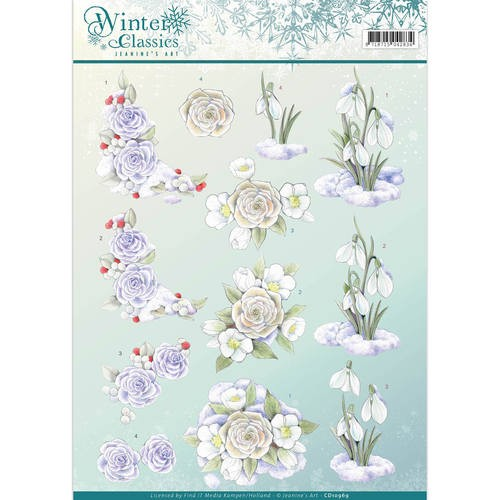 45348 1084 3D Knipvel - Jeanine`s Art - Winter Classics- Snow Flowers (CD10969).
