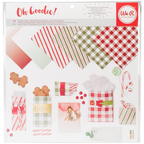 "45351 We R Memory Keepers Glassine Paper Pack 12""X12"" 24/Pkg Holiday Basics, 6 Designs/4 Each."
