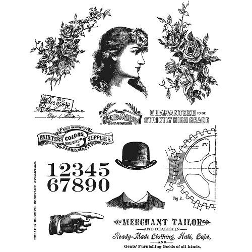 "45417 Tim Holtz Cling Stamps 7""X8.5"" Ladies & Gentlemen (CMS268)."
