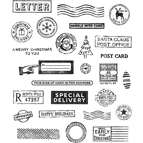 "45422 Tim Holtz Cling Stamps 7""X8.5"" Holiday Postmarks (CMS323).."