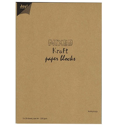 45445 Joy Crafts Mixed Kraft Paperbloc A4 / 3x20 sheets wit-bruin-zwart - 220 gr. (8089/0253).