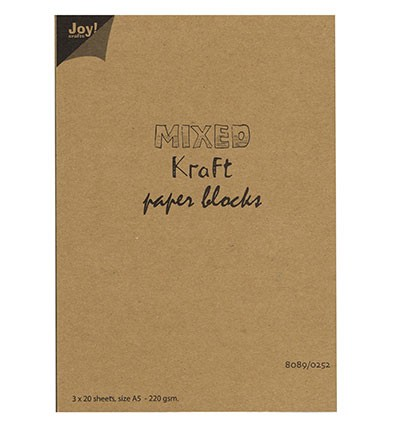 45446 Joy Crafts Mixed Kraft Paperbloc A5 / 3x20 sheets wit-bruin-zwart - 220 gr.  (8089/0252).