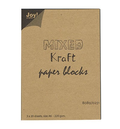 45447 Joy Crafts Mixed Kraft Paperbloc A6 / 3x20 sheets wit-bruin-zwart - 220 gr. (8089/0251).