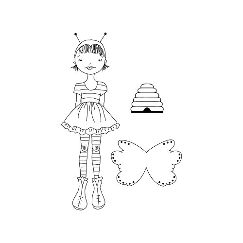 "45456 Julie Nutting Mixed Media Cling Rubber Stamps Bee Girl 5.25""X8""."