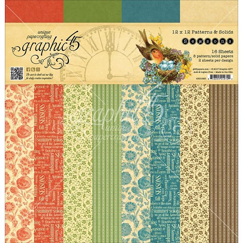 "45460 Graphic 45 Paper Pad 12""X12"" 16/Pkg Seasons 8 Designs 2 Each (4501625)."