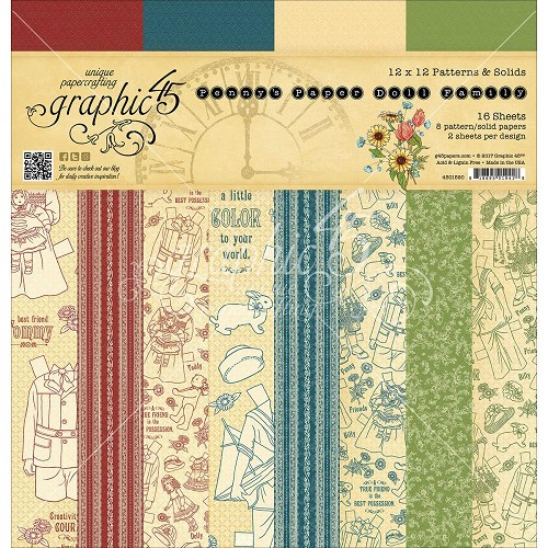"45461 Graphic 45 Paper Pad 12""X12"" 16/Pkg Penny`s Paper Doll 8 Designs 2 Each (4501590)."