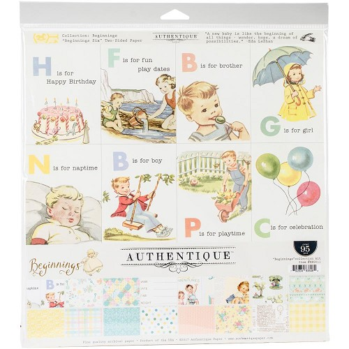 "45466 Authentique Collection Kit 12""X12"" Beginnings (BEG011)."