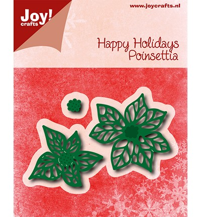 45555 Joy Crafts Cutting & Embossing Happy Holidays - Poinsettia (kerstster) (6002/0776).