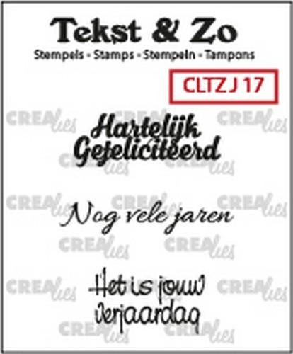 45625 Crealies Clearstamp Tekst&Zo Jarig 17 (NL) 33 mm CLTZJ17.