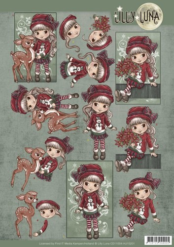 45796 -1019 3D knipvel Lilly Luna - Christmas Wishes (CD11004).
