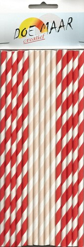 45809 Paper Straws 15/Pkg Red & Pink.