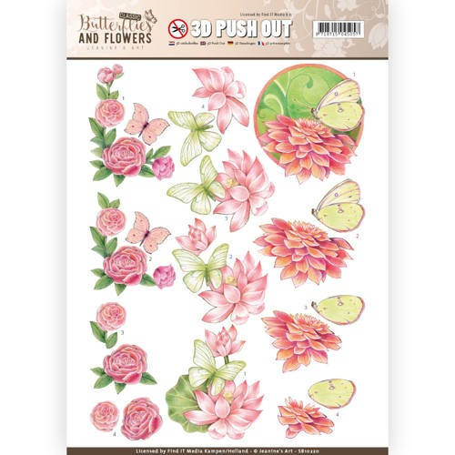 45974 3D Push Out - Jeanine`s Art - Pink Flowers (SB10220).
