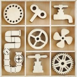 46105 Kaisercraft Themed Mini Wooden Flourishes 40/Pkg Mechanisms.