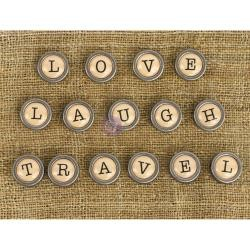 46106 Prima Marketing Mechanicals Metal Embellishments Words #1 - Love, Travel & Laugh.