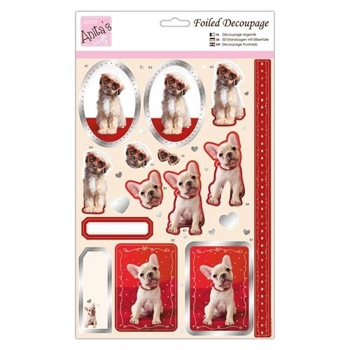 46107 Docraft Anita Foiled Decoupage - Puppy Love.