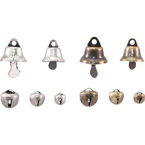 46201 Tim Holtz Idea-Ology Tiny Metal Bells 30/Pkg Antique Brass & Nickel (TH93658).