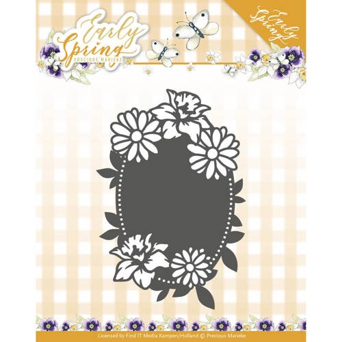 46228 Dies - Precious Marieke - Early Spring - Spring Flowers Oval Label (PM10113).