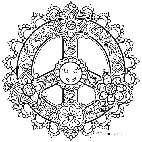 46237 Thaneeya® LLC Iron On Transfers 1/Pkg Peach Sign Mandala 20x20 cm.