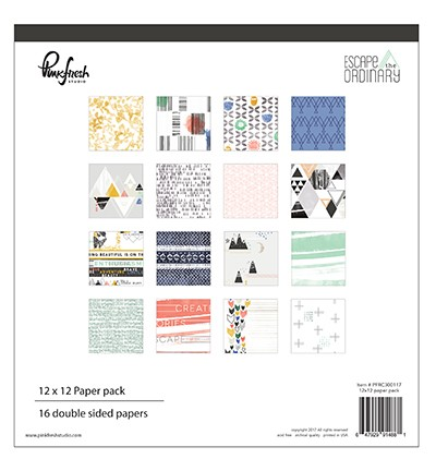 46531 Pinkfresh Escape the Ordinary Paper Pack 32 Double Sided Papers 30.4x30.4cm, 16 Designs.