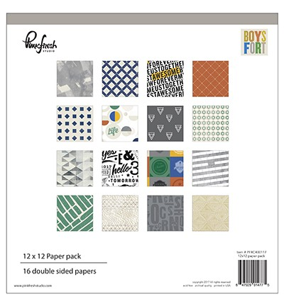 46532 Pinkfresh Boys Fort Paper Pack 32 Double Sided Papers 30.4x30.4cm, 16 Designs.